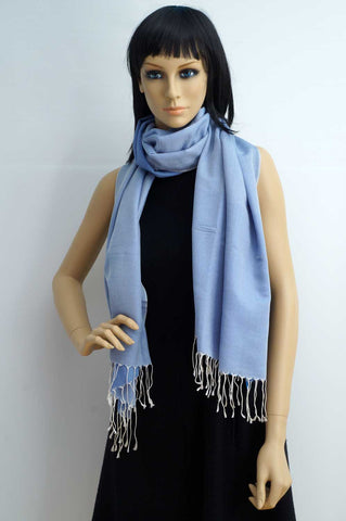 Silk and cotton light blue scarf