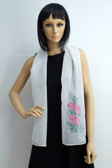 Flower hand painted white light foulard