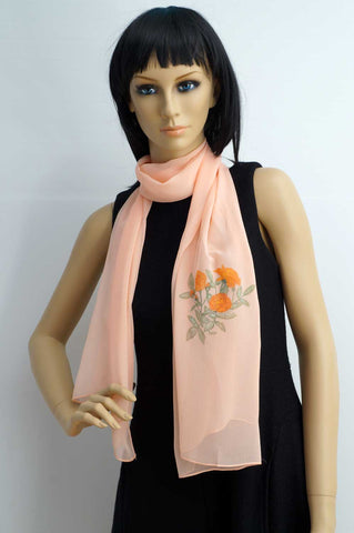 Flower hand painted salmon pink scarf