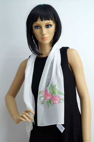 Hand painted white light foulard with roses
