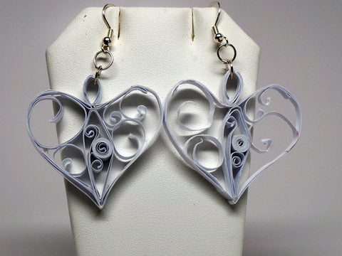 Heart shape handmade paper filigree earrigs