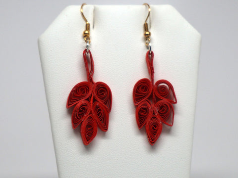 Leaves shape handmade paper filigree earrigs