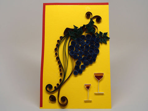 Paper filligree handmade grapes and wine decorated card