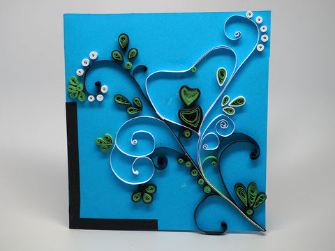Paper filligree handmade flower decorated card