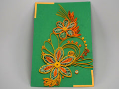 Paper filligree handmade flower decorated green card