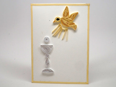 Paper filigree handmade Communion and Confirmation card
