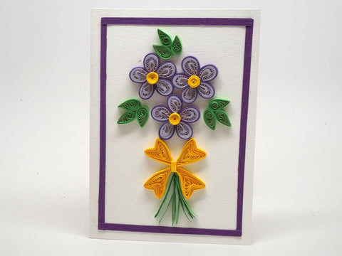 Paper filigree handmade card with flowers