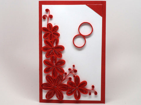 Paper filigree handmade Wedding card