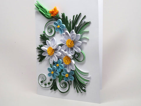 Paper filigree handmade special flowery Birthday card