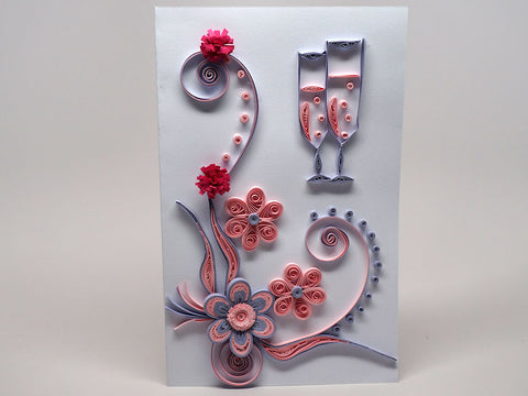 Paper filigree handmade wedding, anniversary, birthday card