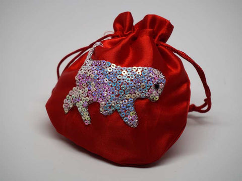 Red pouch with handmade embroidered dog