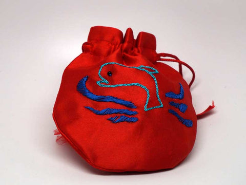 Red pouch with handmade embroidered dolphin