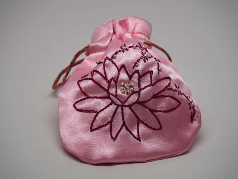 Pink pouch with handmade embroidered lotus flower