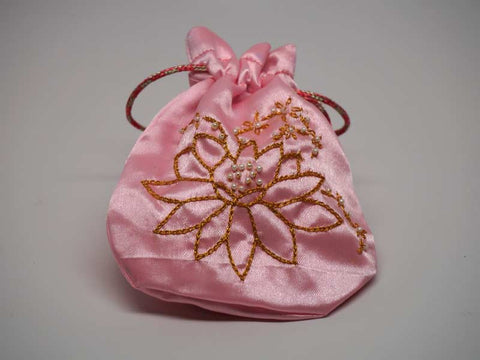 Pink pouch with handmade embroidered golden lotus flower