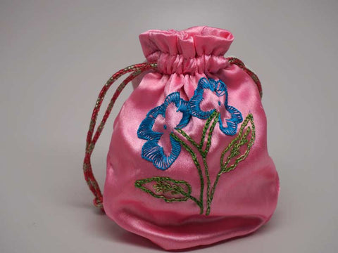 Pink pouch with handmade embroidered flower