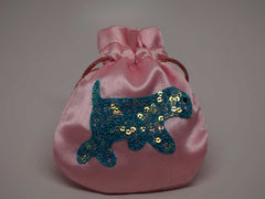 Pink pouch with handmade embroidered dog