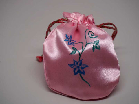 Pink pouch with handmade painting