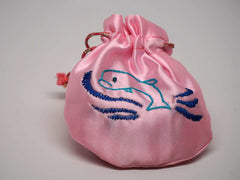 Pink pouch with handmade embroidered dolphin