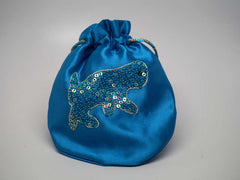 Blue pouch with handmade embroidered dog