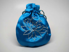 Blue pouch with handmade embroidered lotus flower