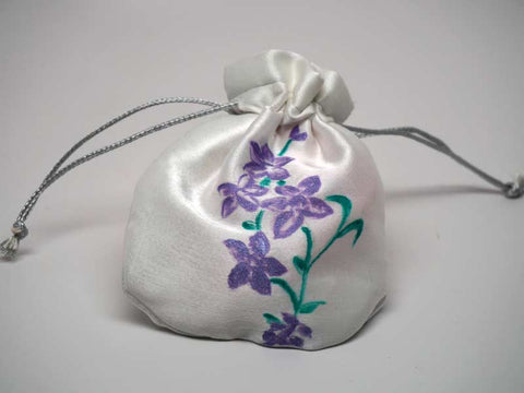 White pouch with handmade painting