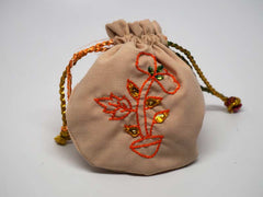 Cipria color pouch with handmade embroidered flower