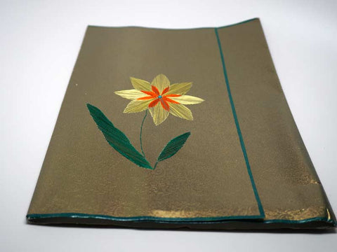Folder with yellow flower handmade embroidery