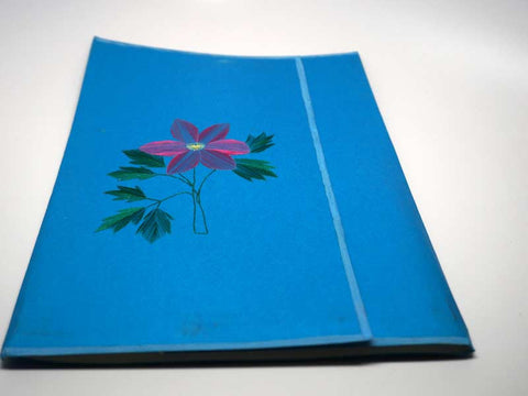 Folder with pink flower handmade embroidery