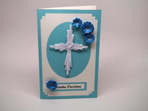 Paper filigree handmade card for Confirmation Sacrament