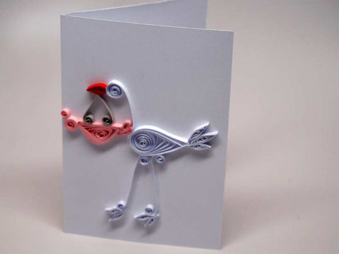 Small paper filigree handmade Baptism/new born baby girl card