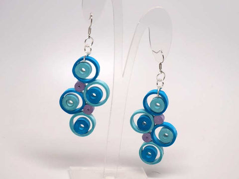 Handmade blue paper filigree earrings