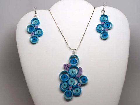 Handmade paper filigree blue necklace and earrings