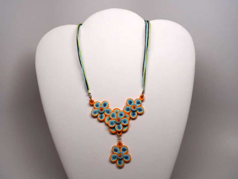Handmade paper filigree flowers necklace