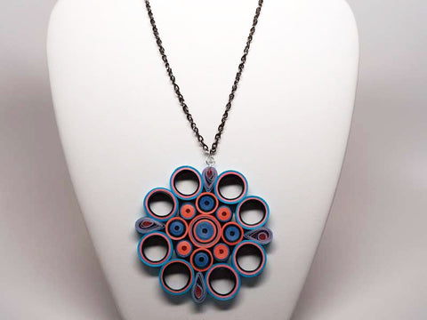 Handmade paper filigree mandala necklace