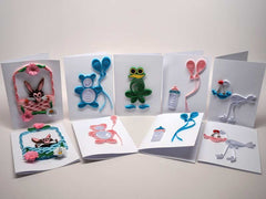 10 Assorted paper filigree handmade children cards