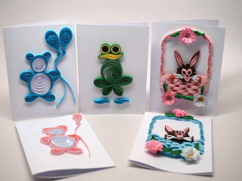 5 Assorted paper filigree handmade children cards