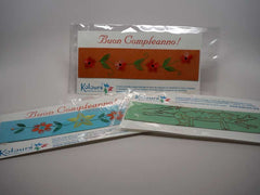 Three assorted Birthday bookmarks embroidered by hand with card