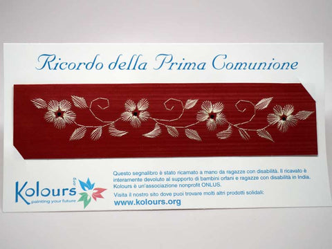First Communion bookmark embroidered by hand with card