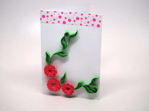Paper filigree handmade flowers small card