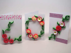 3 Paper filigree handmade flowers small cards