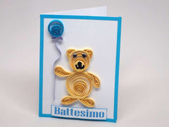 Small paper filigree handmade Baptism/new born baby boy card