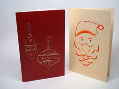 2 embroidered Christmas cards