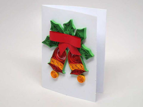 Christmas small card handmade with paper filigree