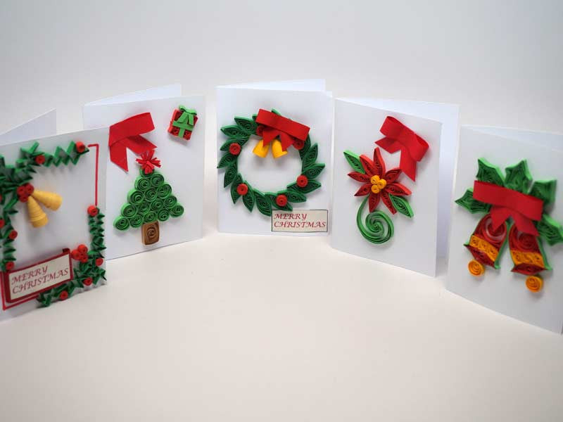 5 small Christmas cards handmade with paper filigree | Kolours