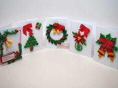 5 small Christmas cards handmade with paper filigree