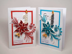 2 Christmas cards handmade with paper filigree