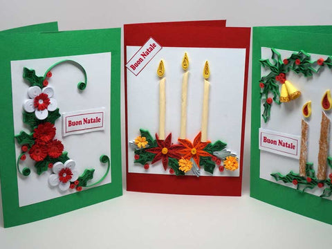 3 Christmas cards handmade with paper filigree
