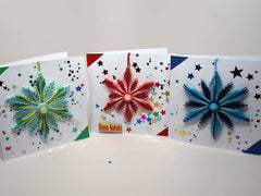 3 Christmas cards with removable decoration