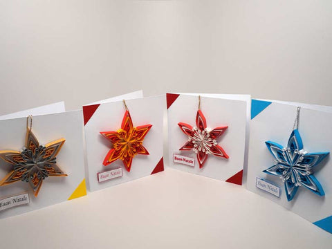 4 Christmas cards with removable decoration