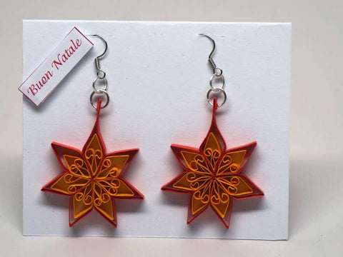 Card with earrings handmade with paper filigree